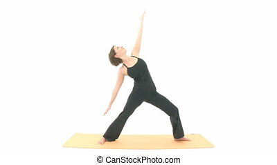 Yoga Asana in sequence: Warrior, Warrior Pose, Warrior 2...
