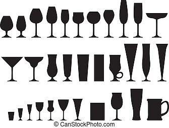 Set of glass goblets - Set of silhouette images of glass...