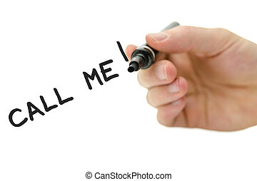 Male hand writing Call me message on a virtual whiteboard
