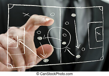 Coach pointing to a football strategy plan - Closeup of...