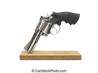 revólveres, madeira, isolado, branca, fundo
