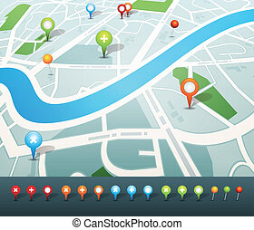 Street Map With GPS Pins Icons - Illustration of a...