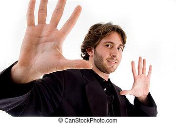 portrait of man showing palms