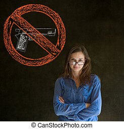 No guns pacifist business woman - Business woman, student,...