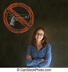 No guns pacifist business woman, student, teacher or...