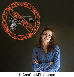 No guns pacifist business woman, st - Business woman,...