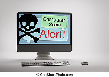 Computer displaying internet fraud and scam warning on...