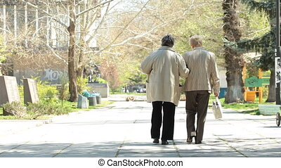 women walking along the alley - Two senior women walking...