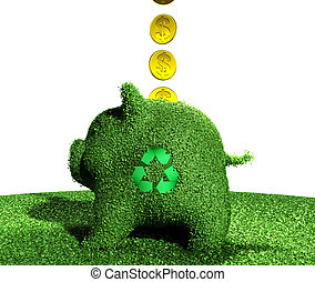 coins go into a recycling piggy bank of grass - a row of...