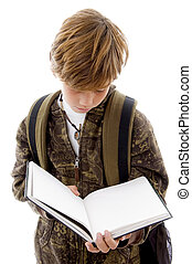 front view of school child reading with white background