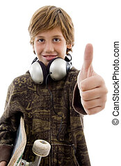 front view of boy with headphone and thumbs up