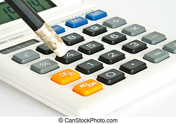 鉛筆, 計算器, 白色, 背景