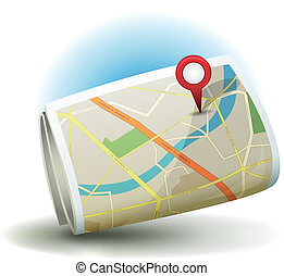 Cartoon City Map Icon With GPS Pin - Illustration of a...