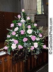Wedding day flowers in church - Flower arrangement decorates...