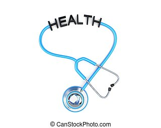 stethoscope and health text