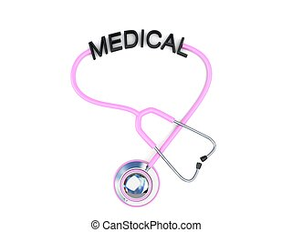 pink stethoscope with medical text