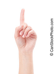 Hand with index finger, isolated on a white background