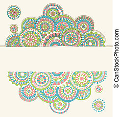 Doodle frame with copyspace - Colorful hand drawn doodle...