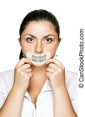 doctor woman medical secrecy concept - doctor woman over...