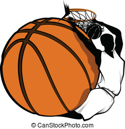 Basketball Dunk Design - Color vector illustration of a...