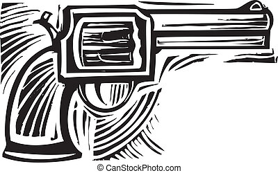 Woodcut Pistol - Woodcut style image of a pistol revolver.