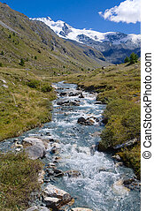 Mountain river in the swiss alps