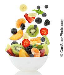 fresco, mezclado, fruta, ensalada, Caer, tazón,...