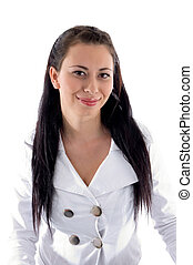 portrait of brunette businesswoman on an isolated white...