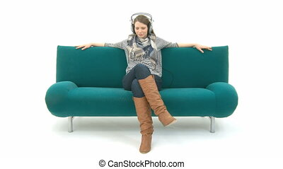 Woman listening to music - Pretty Woman listening to music