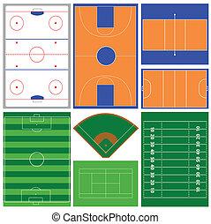 sport fields - vector set of various sport fields
