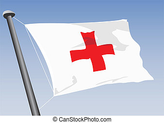 flag of red cross - vector flag of red cross