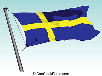 Swedish flag - vector flag of Sweden