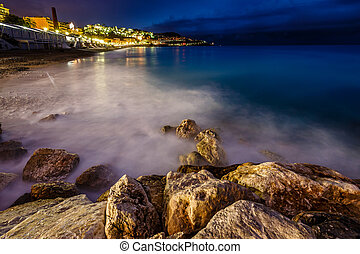 Romantic Cote d'Azure Beach at Night, Nice, French Riviera,...