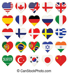 world flag buttons - vector set of heart shaped world flag...