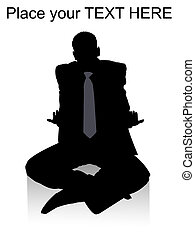 sitting adult businessman with white background