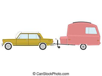 Trip - Retro car with caravan.