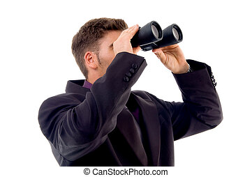 handsome young accountant with binoculars