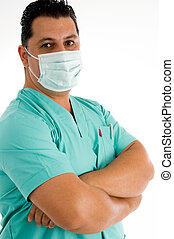 male doctor posing with face mask