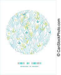 Blue bamboo branches frame seamless pattern background -...