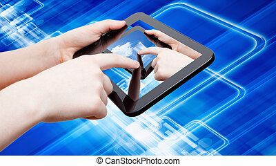 Abstract tablet computer in hands