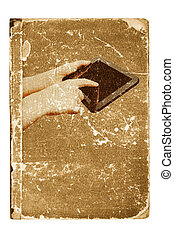 Tablet computer, old book