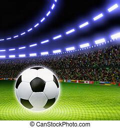 Soccer ball, stadium - Soccer ball on green stadium, arena...