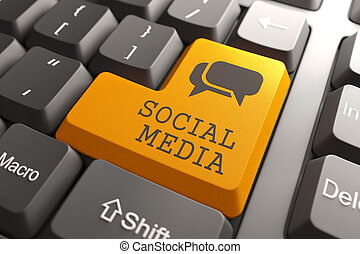 Keyboard with Social Media Button. - Social Media. Orange...