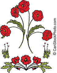 Poppies - A series of red poppy flowers, perfect for floral...