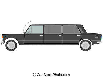 Stretch limo - Black stretch limo on a white background
