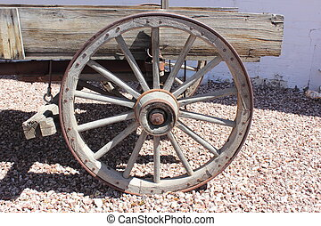 wagon wheel - An old rustic wagon wheel