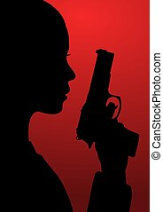 girl with gun - Black and red illustration of a girl with a...