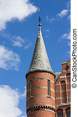 Turret on neo gothic building in Groningen, Netherlands