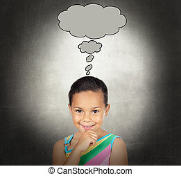 Doubtful little girl with a bubble on a over gray background