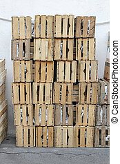 Crates - Big pile of crates for fruits and vegetables